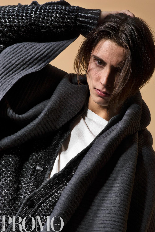 Armani Grey scarf Our Legacy White Long Sleeve shirt Rag & Bone NY Grey knit sweater