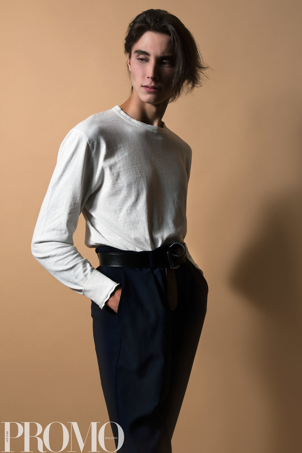 Our Legacy White Long Sleeve shirt Levi's (reversible) Belt ASOS Navy tapered pant