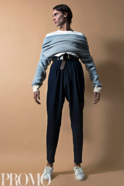 Our Legacy White long sleeve shirt La Paz Blue sweater Levi's (reversible) Belt ASOS Navy tapered pant Shoes: Zespas