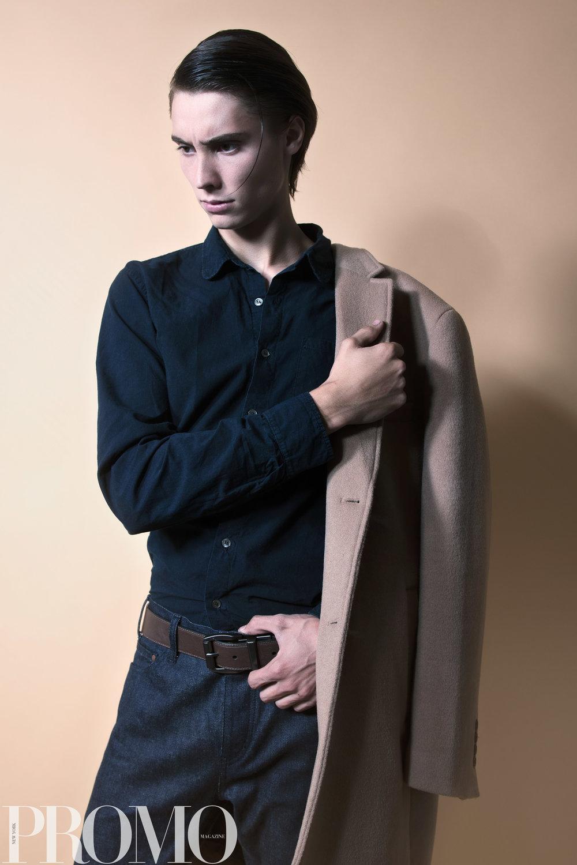 Tan Coat: Calvin Klein Navy button Up: Calvin Klein Levi's (reversible) Belt Han Kjobenhaven Jeans