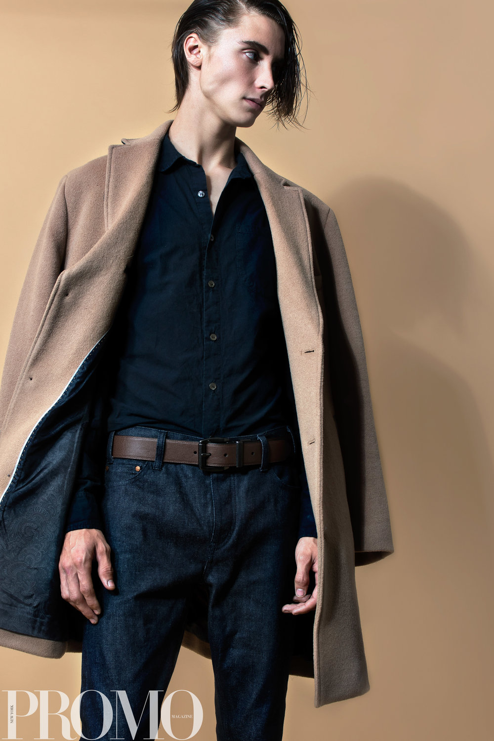 Navy button Up Calvin Klein Tan Coat Levi's (reversible) Belt Han Kjobenhaven Jeans