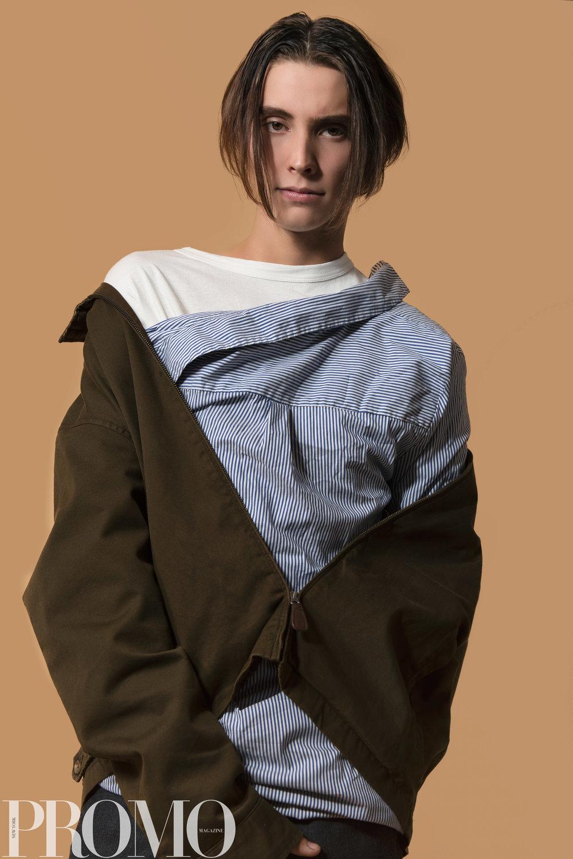 Rachel Roy woman's line: Blue striped button up Ralph Lauren Brown jacket Our Legacy White long sleeve Han Kjobenhaven Jeans
