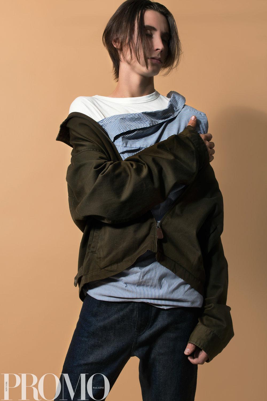 Rachel Roy woman's line: Blue striped button up Ralph Lauren Brown jacket  Han Kjobenhaven Jeans Our Legacy White long sleeve