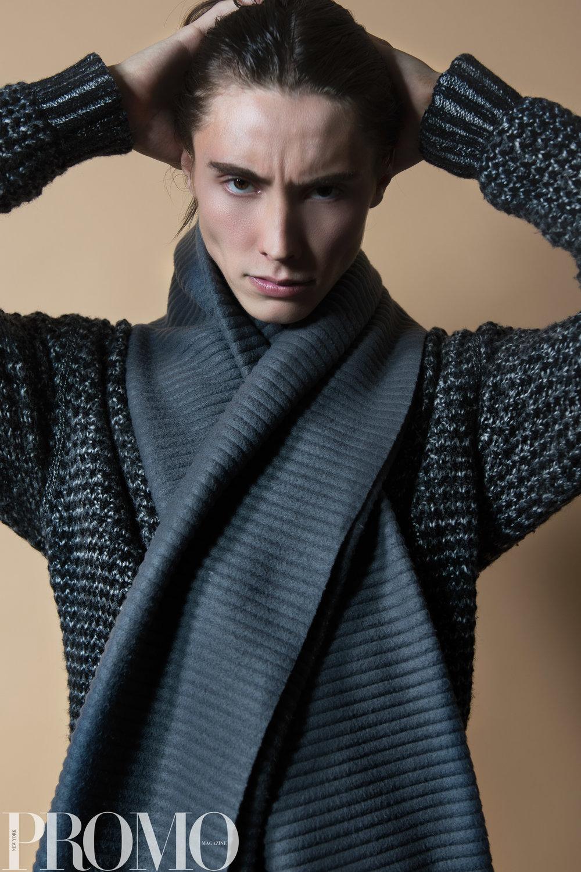 Armani Grey scarf Rag & Bone NY Grey knit sweater