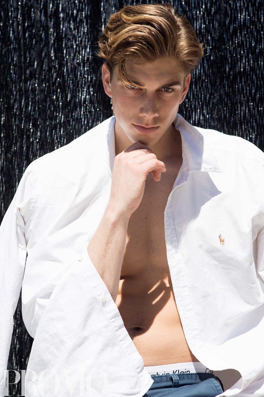 Blue long pants: Industrie White long sleeve collard shirt: Ralph Lauren underwear : Calvin Klein
