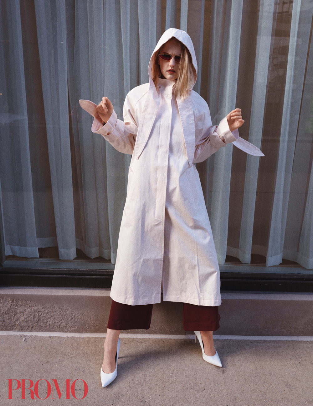 Trench: ASOS  Sunglasses: Royal Girl  Jumpsuit: ASOS WHITE  Heels: BCBG