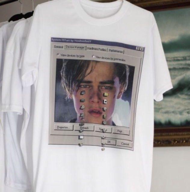 "DiCaprio crying MS- DOS"" t-shirt"