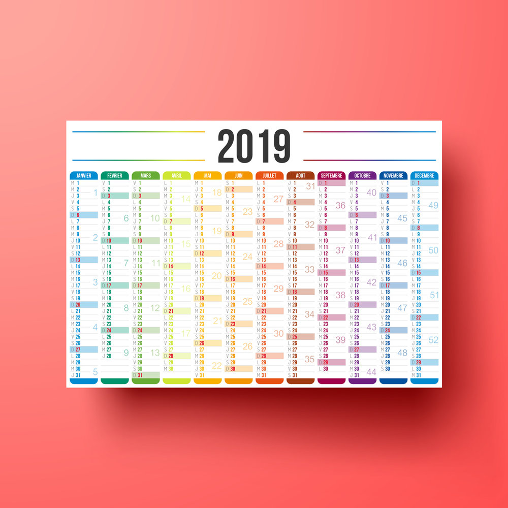 Calendar 2019 isolated on red background with shadow - French version (version française). Need another version, another year... Check my portfolio. Vector Illustration (EPS10, well layered and grouped). Easy to edit, manipulate, resize or colorize. Please do not hesitate to contact me if you have any questions, or need to customise the illustration. http://www.istockphoto.com/portfolio/bgblue