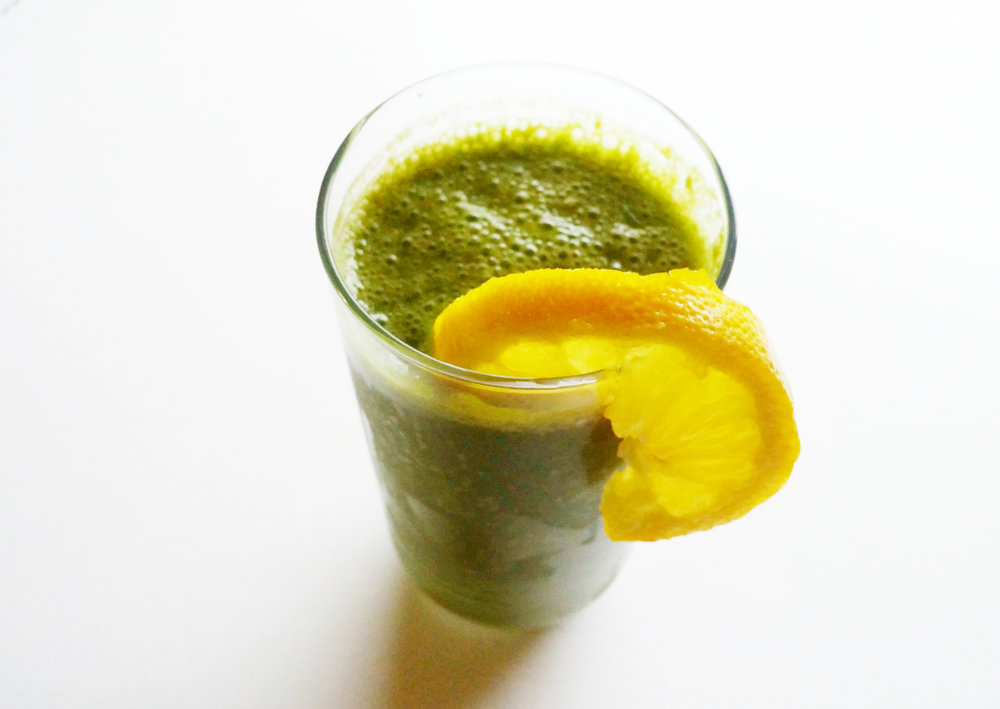 green smoothie orange slice