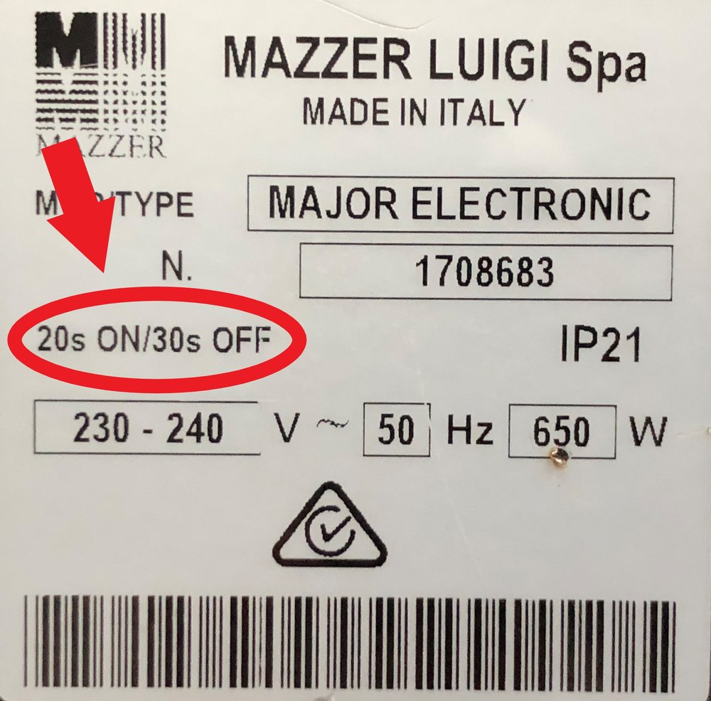 Figure 1.    A typical duty cycle sticker, usually found on the side of grinders. In the case of this Mazzer Major it is meant to grind for 20 seconds, before having a 30 second break. Because grinding on a Mazzer major takes about 8 seconds to grind, which means you would only need a rest of 12 seconds before grinding again. This 12 seconds would be soaked up by tamping, grooming, shot activation etc.