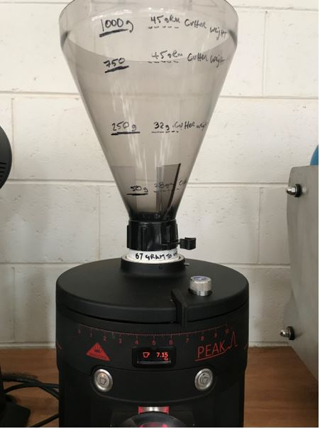 Figure 1. (the Peak with Gino Rossi Bean Hopper, keeping the hopper full between 750grams and 1000 grams, will keep consistent feed weight on cutters)