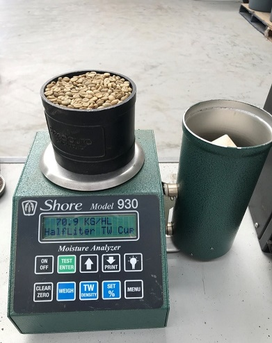 figure2. Our Shore moisture meter with Bulk density reading. The meter reads the calculation of half litre sample. And multiplies out to a hectolitre (100 litre) result. In the above example. This is the green bean that accompanied our spec sheet above. As per the spec sheet it has a density reading of 70.9kg per hectolitre. Or simply 70.9 . Throughout the course of taking samples this figure may deviate slightly, depending upon the beans sampled, and your skills at taking measurements. Generally this deviation won't be more than 1%. If it is , check your technique first and supplier second.