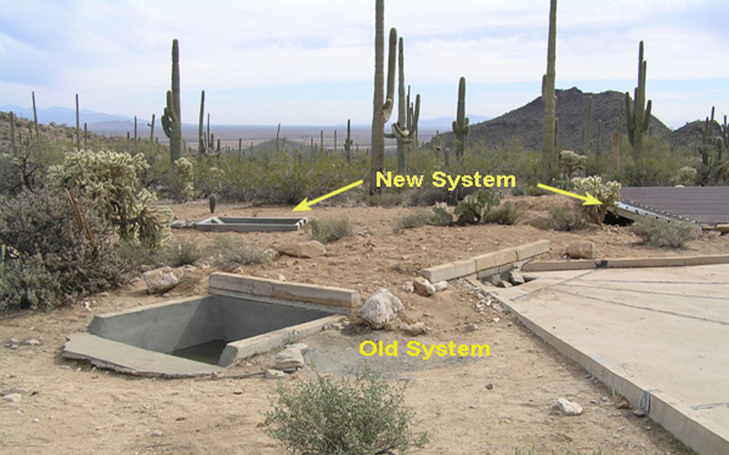 Old and New Water Collection Aprons In Arizona