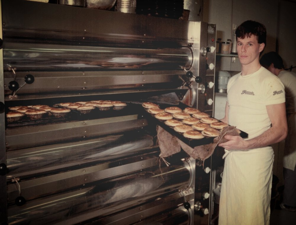 Max during his apprentice at Barends Patisserie    See how we had to clean the oven