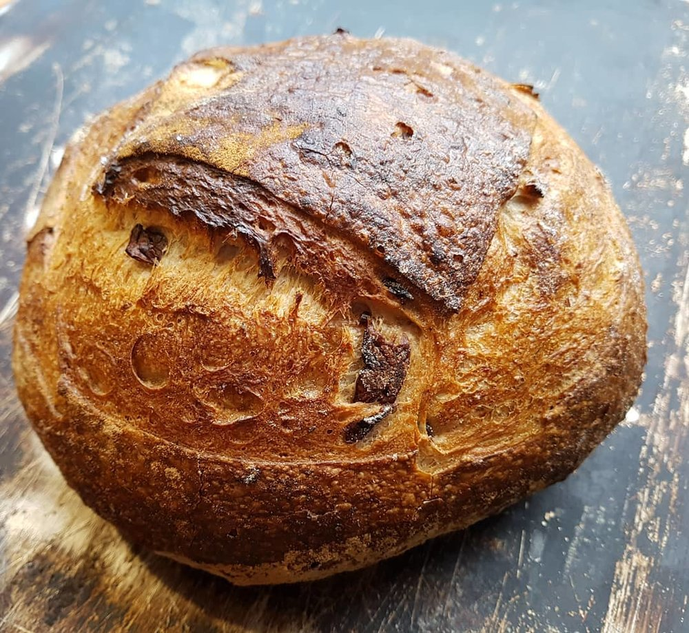 Olive Sourdough $6.30   Wheat flour, water, olives 6% , wholemeal, rye flour, salt, lemon basil, sour starter.