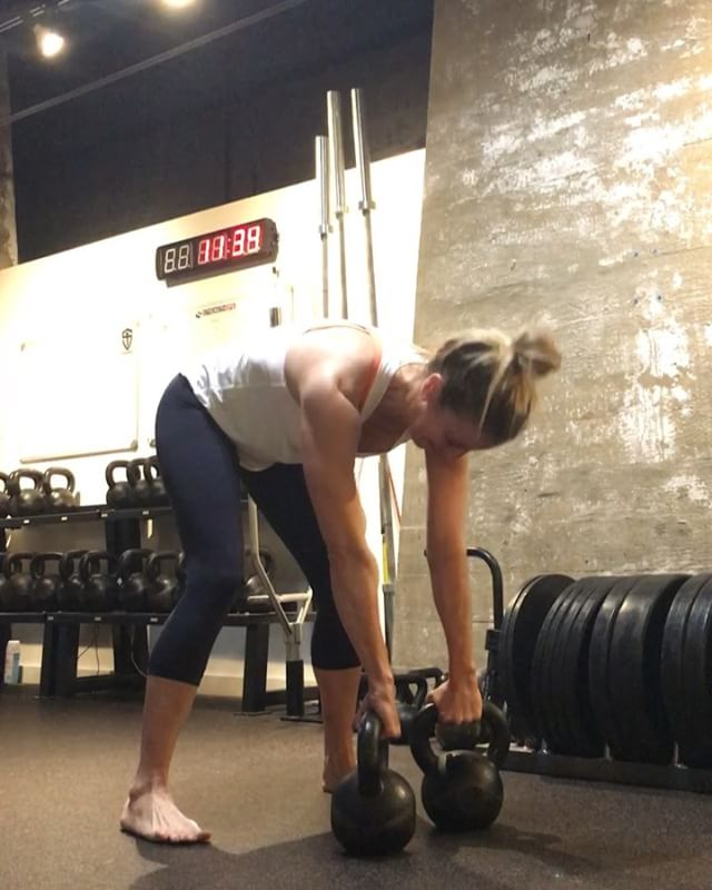 Video #1 - Kettlebell Clean  Video #2 - Double Bell Overhead Press. *PR attempt  #strengthops #kettlebell #strongfirst #momswholift #fitnesslife #fitnessfun #laughingislearning #successful