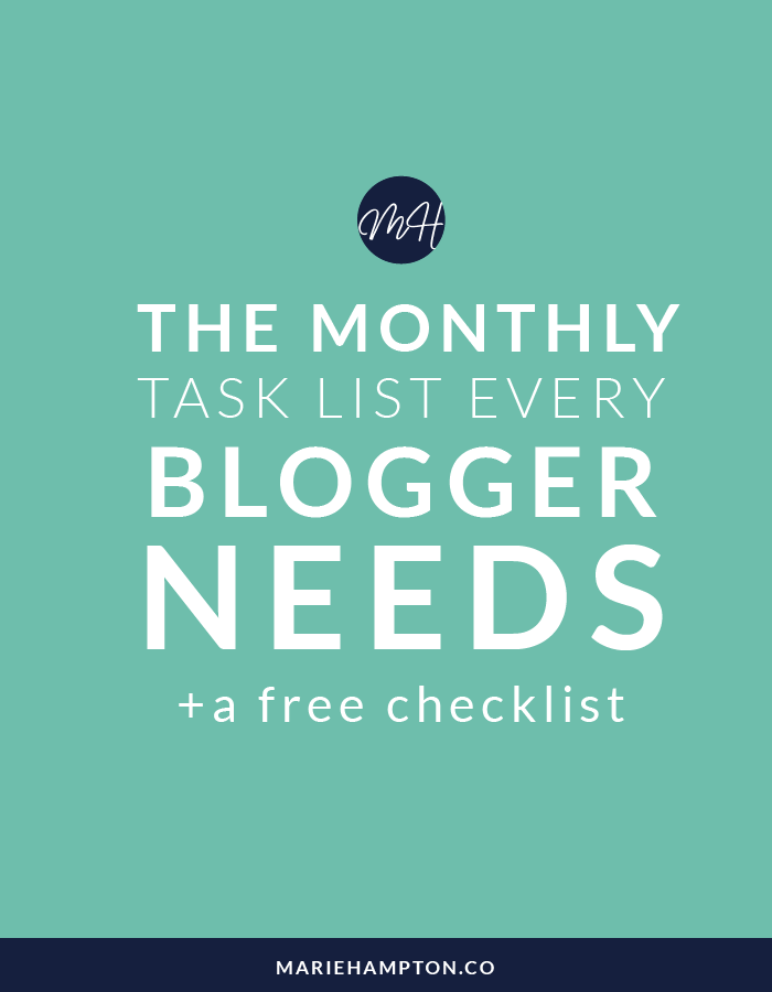 The Monthly Task List That Every Lifestyle Blogger Needs - Marie Hampton // Are you a life + style blogger struggling to get organized? Girl, I've got you covered. This checklist will take the stress out of staying on top of your to-do list. Click through to read the full blog post.