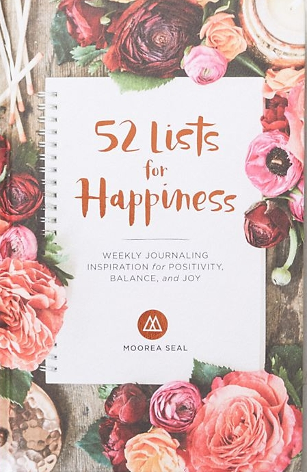 52 List for Happiness Journal by Moorea Seal at Anthropologie, $16.95.  http://bit.ly/happinessjournal A list based open dated hard cover journal focussing on cultivating a happy and fulfilling life.