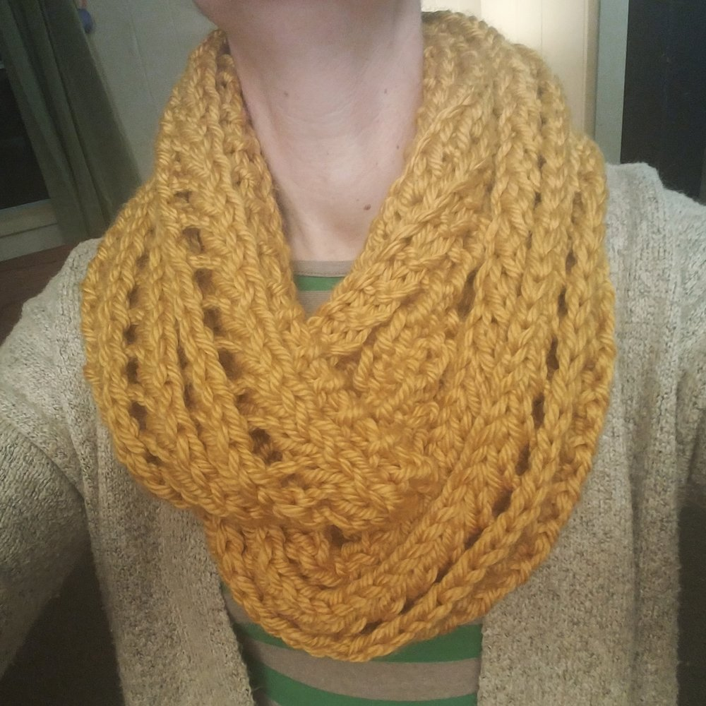 Misty Lace Scarf from Lion Brand: lionbrand hometown yarn (I connected the ends to make an infinity scarf)