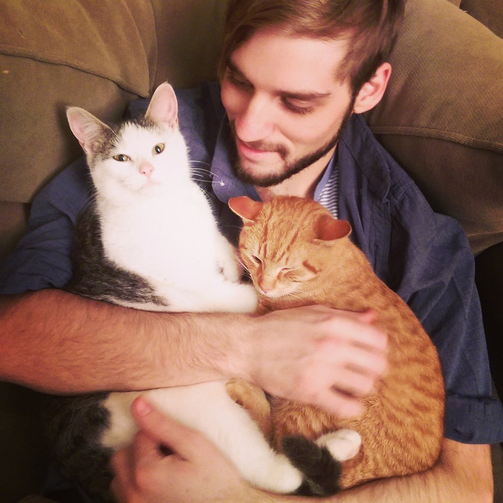 Conor with Tonks and Popcorn, our barn cats (who obviously stay in the barn and never come inside.)