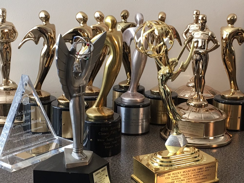 Statues  2 Emmy's 1 Iris 1 Gabriel A handful of Telly's A bunch of Addy's A set of Duponts 3rd Place Bowling Trophy. Most improved!