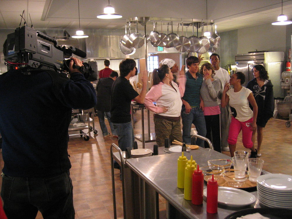 Sam and company on the Set of High School Musical 2