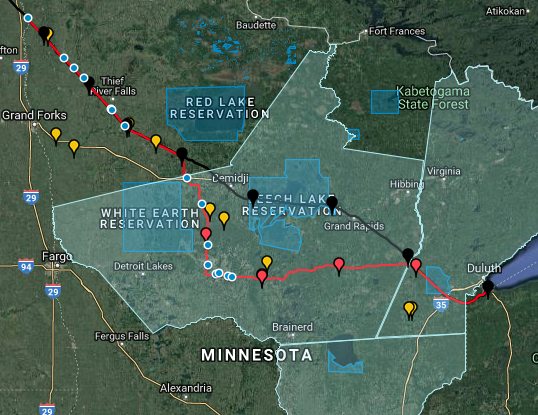The final route for the new Line 3 corridor, with two major changes from the original route, as outlined in the Route Permit issued by the MN PUC on October 22, 2018.