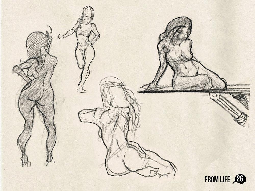 From the sketchbook: Female figure studies