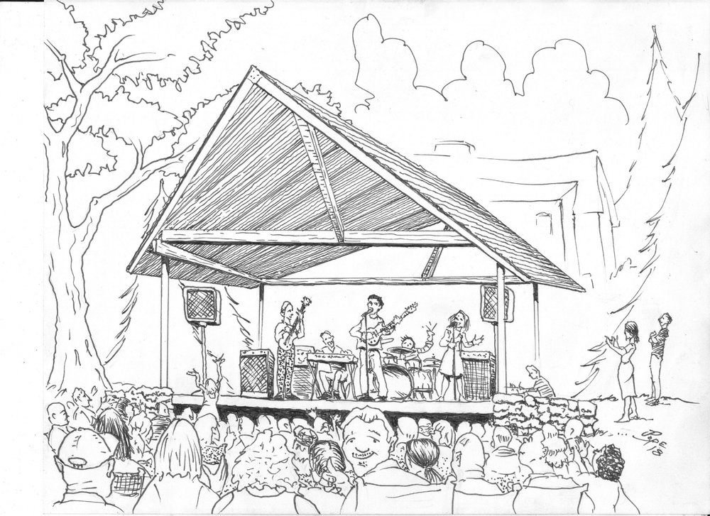 Artist Jerry Pope (Hare Brand Ideas) conception of the new Grovemont Park Performance Pavilion.