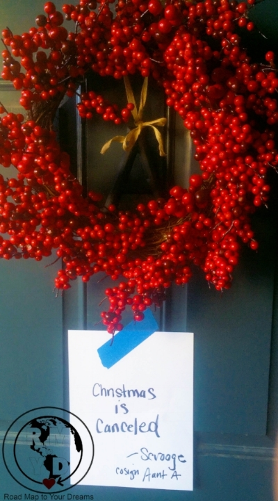 Last year I had this sign waiting for by nieces, nephews and family when they arrived at my house for Christmas Eve Dinner. A little Christmas fun.
