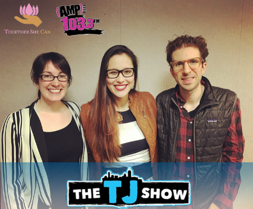 Radio host Loren Raye (left), TSC president Madeleine Park (middle) & radio host TJ (right).