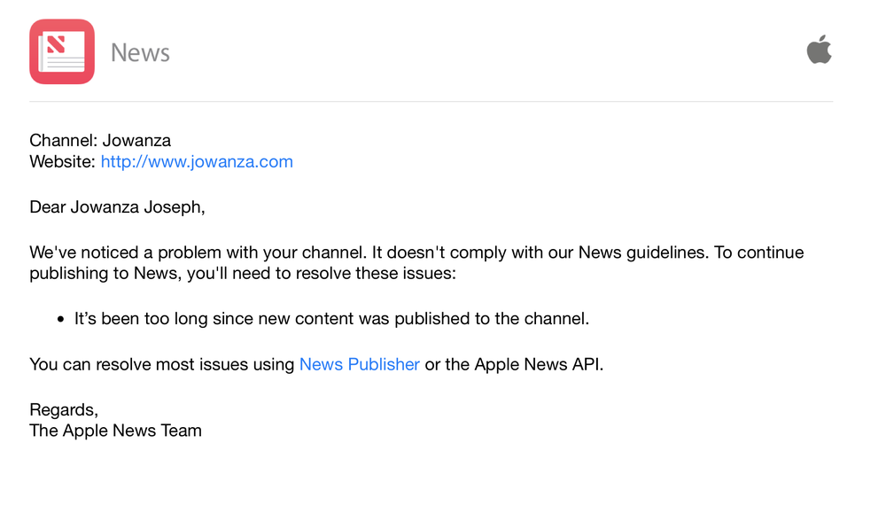 Apple noticed my Blogs RSS feed has been empty for months.