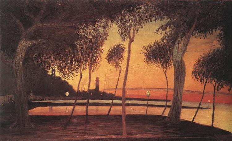 Sunset Over the Bay of Naples, 1901, Tivadar Kosztka Csontvary