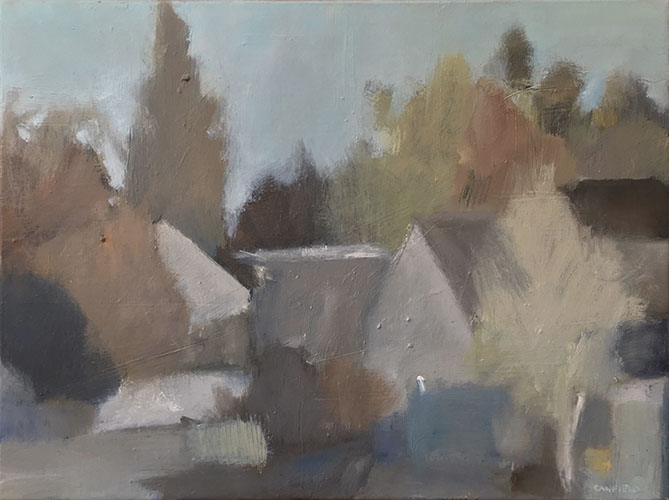 Sheds and Fences. Oil on linen. 45 x 60cm.