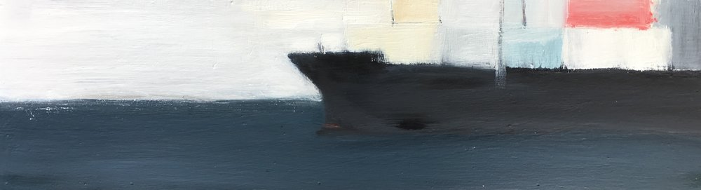 Freighter I. Oil on board.16 x 70cm.