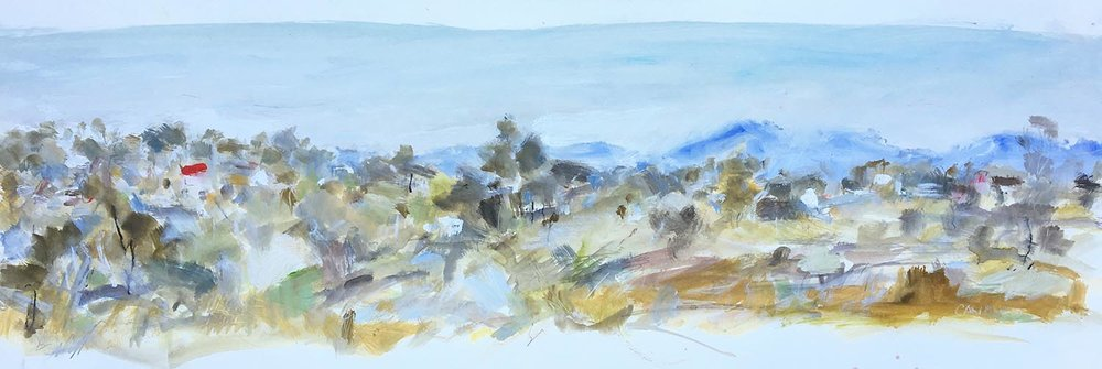 Out West, Gouache and Charcoal on Stonehenge Paper. 20 x 47cm.