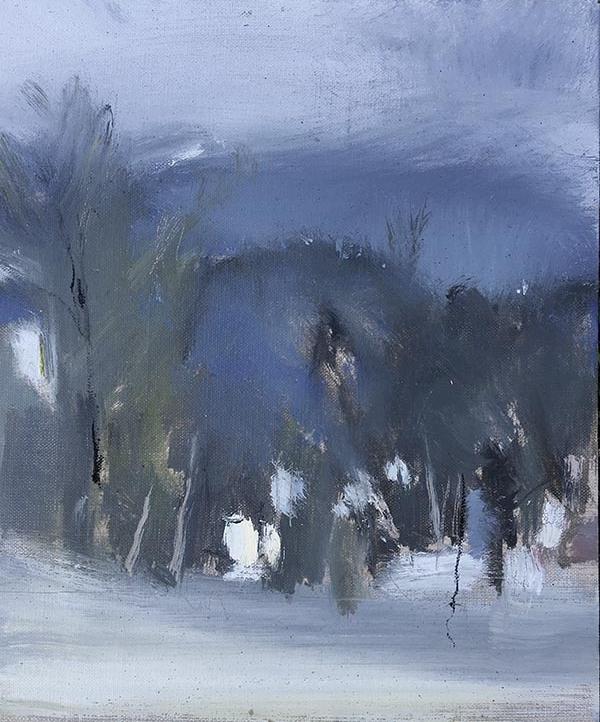 Autumn Landscape. Oil on linen panel.30.5 x 25.5cm.