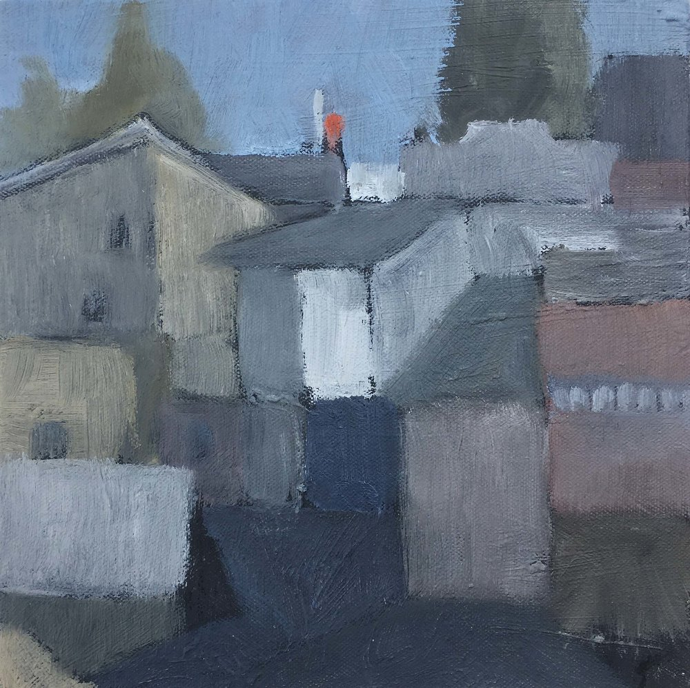 Looking Back to Leura.Oil on canvas, 25 x 25cm.