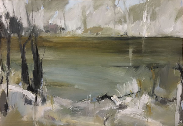 Wild Place II, Lake, 2017.   Oil and charcoal on board. 61 x 91cm. SOLD.