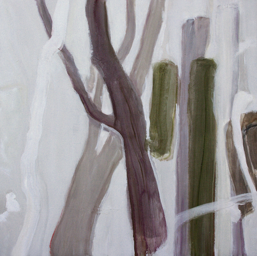 Ghost Gums. 2016. Oil on canvas. 135 x 135cm. This work was a finalist in the Calleen Art Prize, Cowra Regional Gallery, 2016.