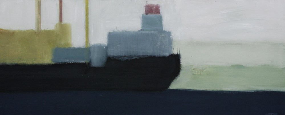 Freighter II, 2017. Oil on board. 41 x 100cm.