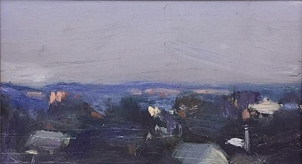 Timeless Land Series, No. IV, 2017. Oil on board. 12.5 x 22.5cm.
