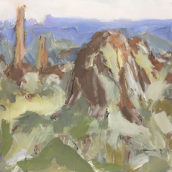 Warrumbungles III. 2017. Oil  and charcoal on board. 30 x 30cm.