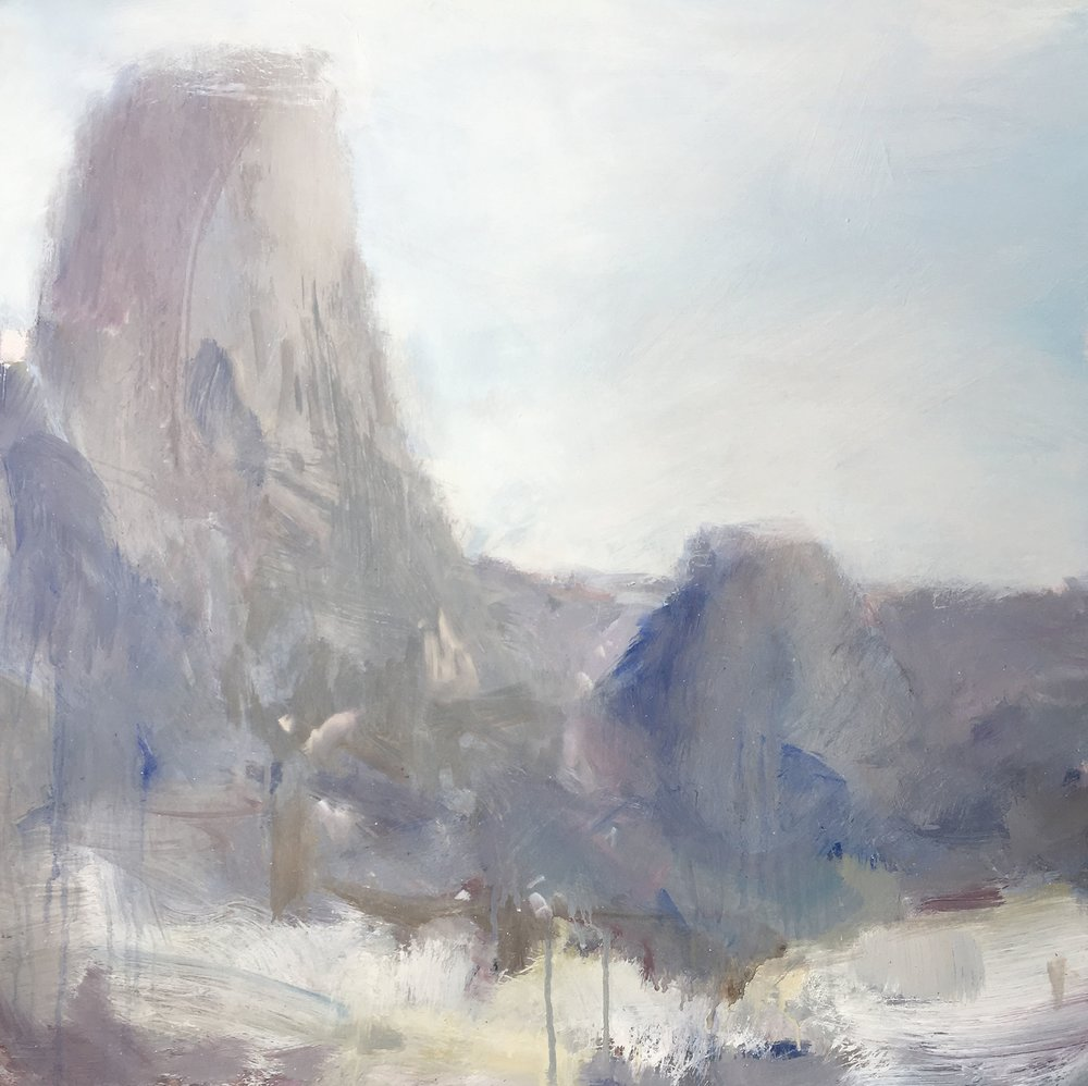 Warrumbungles I. 2017. 55.5 x 65.5cm. Oil on board.