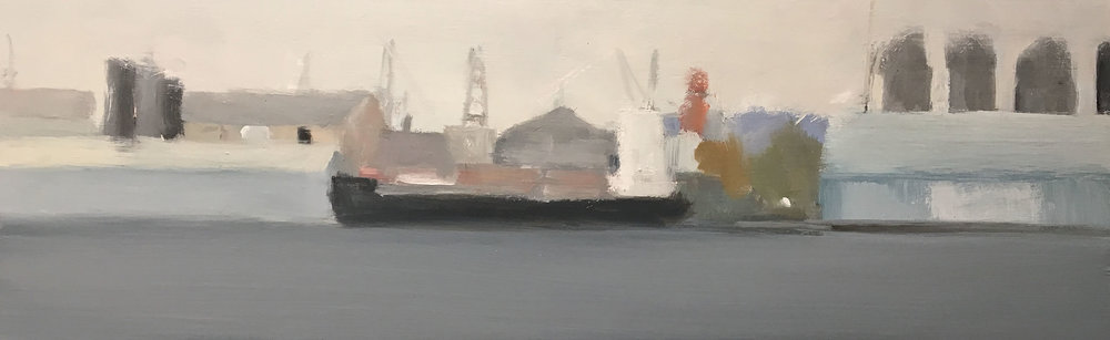 Freighter VI.   Oil on board. 26 x 80cm.