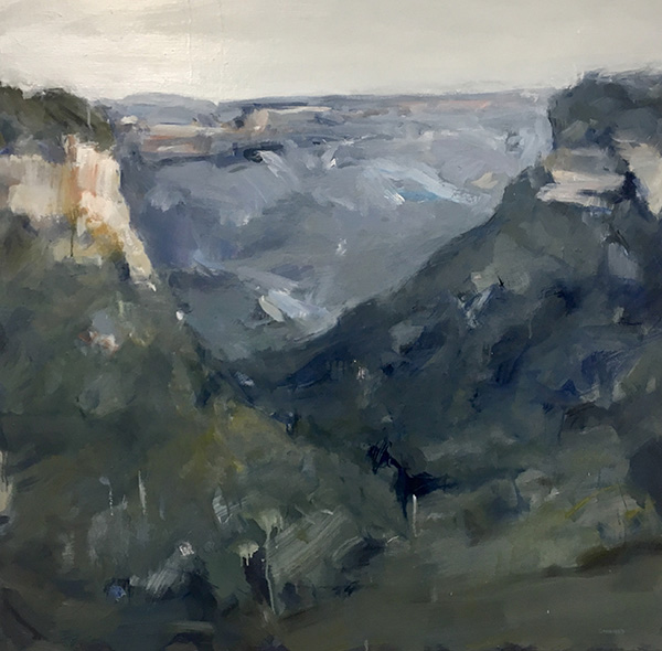 View from Olympian Rock, 2017   120 x 120cm oil on linen SOLD