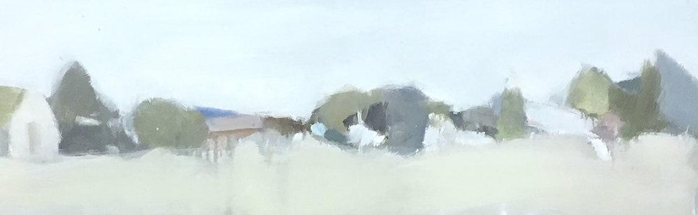 Grey Day, Kurri Kurri, 2018   Oil on board 26 x 81 cm