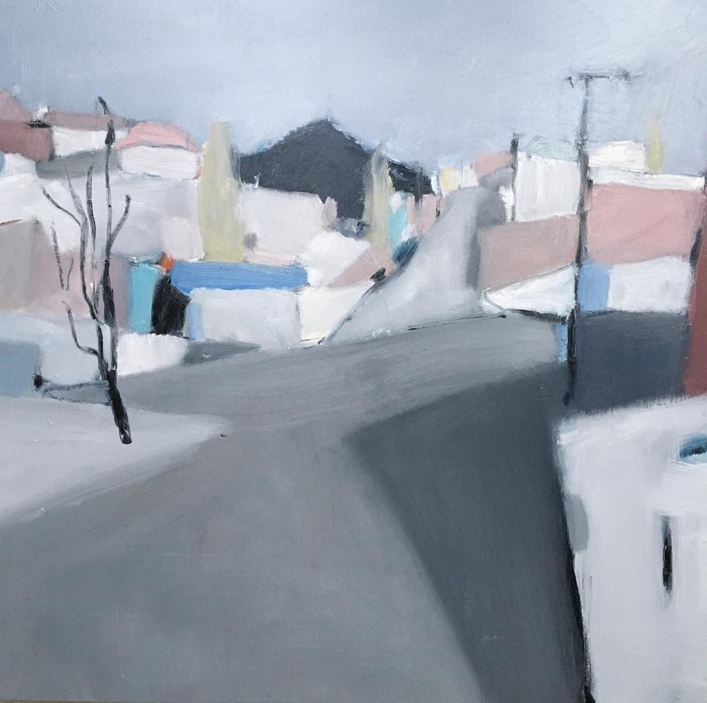 West Hobart #2, Hobart Paintings, 2018, oil and pastel on board 76 x 76cm