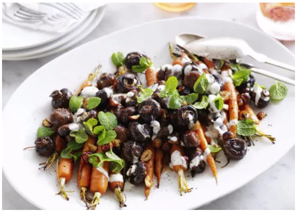 A healthy vegetarian recipe: Roasted mushroom and carrot salad with maple dressing.