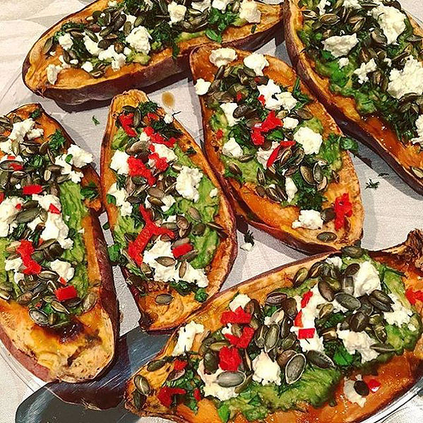 Make sweet potato boats for leftovers! Image via  Leah Eat This
